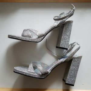 f7b4fc5717f Bakers Shoes - Bakers Silver Glitter Chunky Heel Strappy Sandal